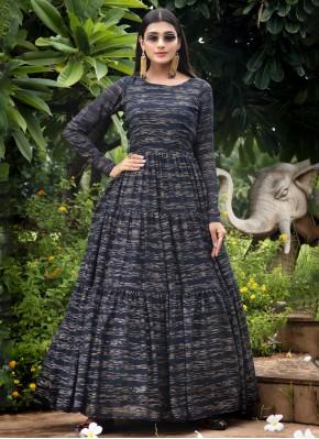Aristocratic Printed Navy Blue Designer Gown