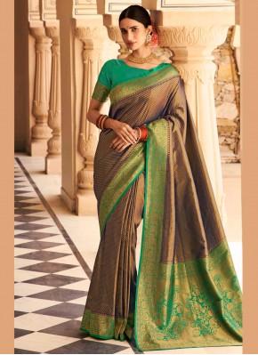 Aristocratic Silk Multi Colour Woven Designer Traditional Saree