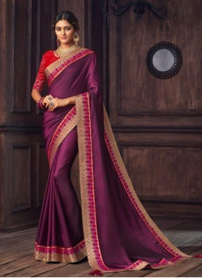 Aristocratic Silk Violet Traditional Designer Saree