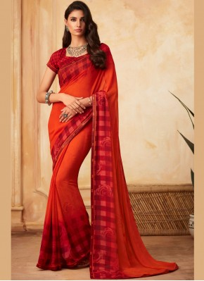 Arresting Abstract Print Multi Colour Faux Georgette Printed Saree