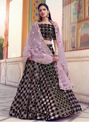 Arresting Fancy Fabric Black Sequins Lehenga Choli