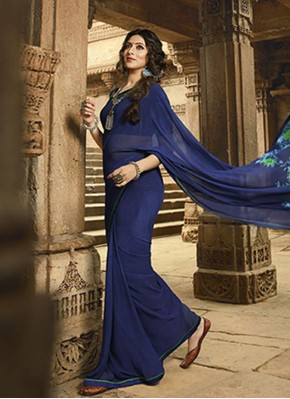 Arresting Georgette Blue Print Casual Saree