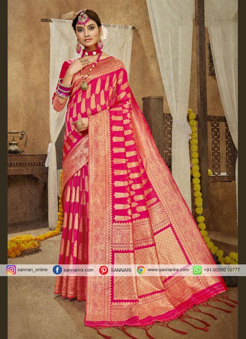 Arresting Hot Pink Designer Traditional Saree