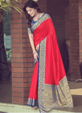 Arresting Red Traditional Designer Saree
