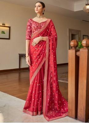 Arresting Sequins Pink Organza Classic Designer Saree