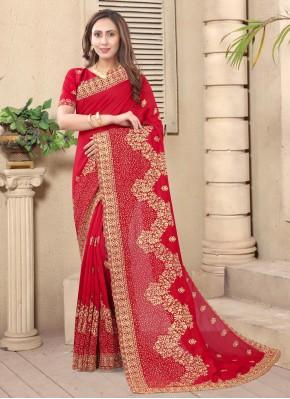 Arresting Silk Red Embroidered Designer Saree