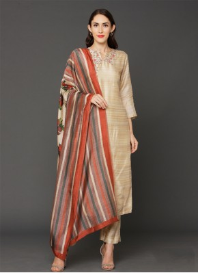 Art Silk Beige Embroidered Pant Style Suit