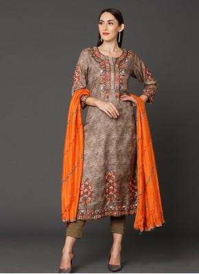 Art Silk Brown Salwar Suit