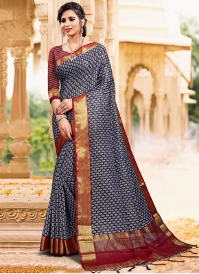 Art Silk Contemporary Saree in Navy Blue