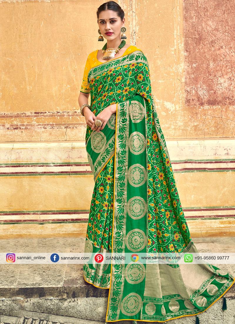 Art Silk Designer Traditional Saree in Green