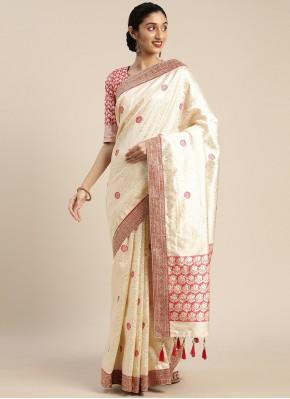 Art Silk Embroidered Designer Traditional Saree in Cream