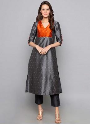 Art Silk Fancy Grey Party Wear Kurti