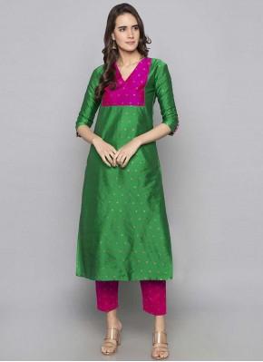 Art Silk Fancy Party Wear Kurti in Green