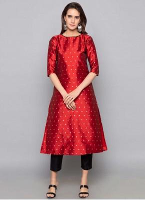 Art Silk Fancy Red Party Wear Kurti