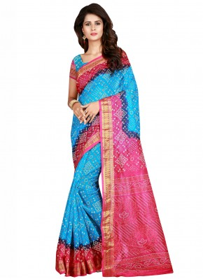 Art Silk Firozi and Pink Traditional Saree