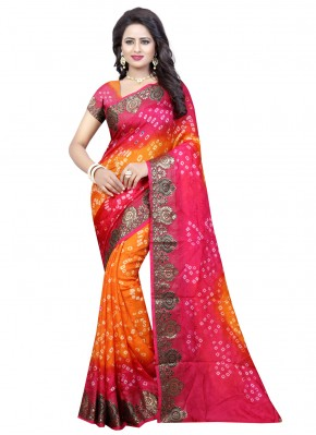 Art Silk Hot Pink and Orange Traditional Saree