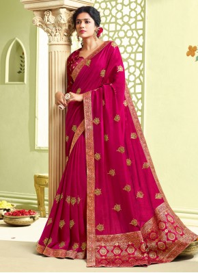 Art Silk Hot Pink Embroidered Traditional Saree