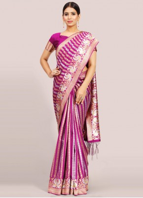 Art Silk Magenta Traditional Designer Saree
