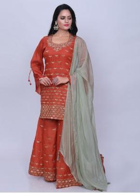 Art Silk Orange Embroidered Designer Palazzo Salwar Suit