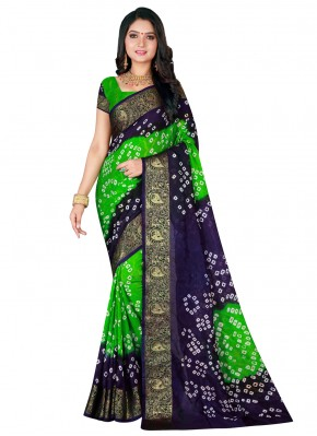 Art Silk Patch Border Blue and Green Traditional Saree