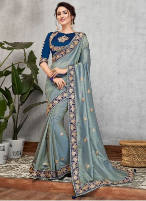 Art Silk Patch Border Blue Traditional Designer Saree