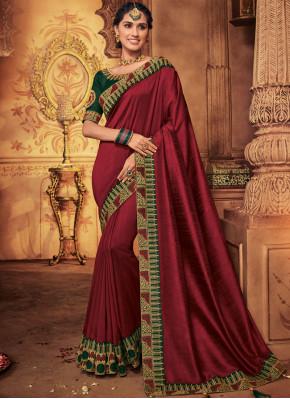 Art Silk Patch Border Designer Traditional Saree in Maroon