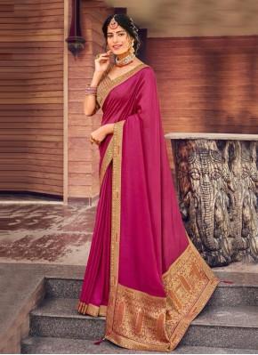 Art Silk Patch Border Traditional Designer Saree in Pink