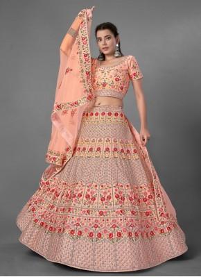 Art Silk Peach Bollywood Lehenga Choli