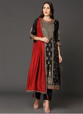 Art Silk Resham Designer Straight Salwar Kameez in Black