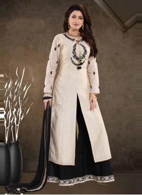 Art Silk Thread Cream Readymade Suit