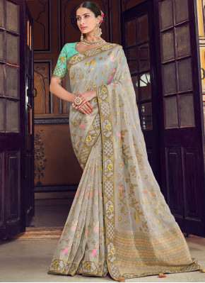 Art Silk Traditional Designer Saree in Grey