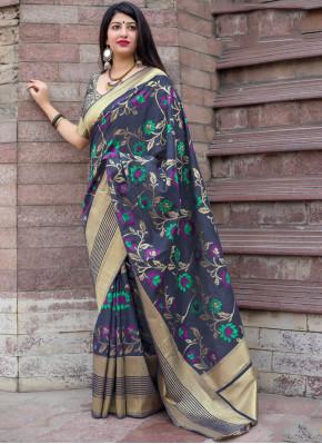 Art Silk Traditional Designer Saree in Navy Blue