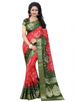 Art Silk Traditional Saree in Green and Pink