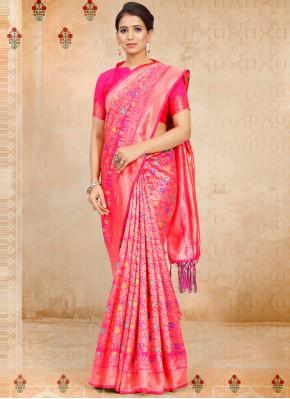 Art Silk Weaving Traditional Saree in Rani