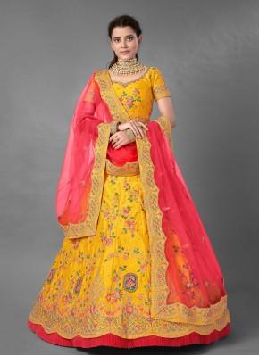 Art Silk Yellow Embroidered Trendy Lehenga Choli