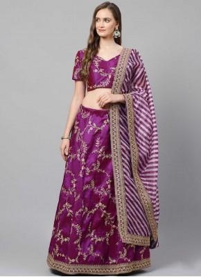 Art Silk Zari Purple Lehenga Choli
