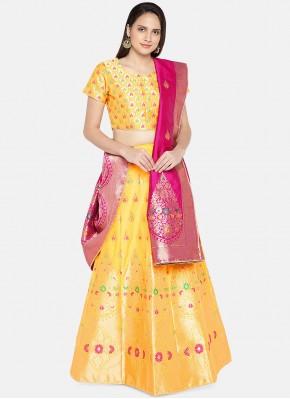 Artistic Banarasi Silk Yellow Woven Lehenga Choli