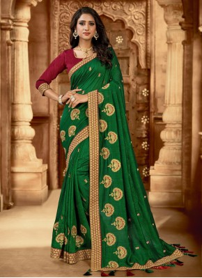 Artistic Embroidered Green Silk Trendy Saree