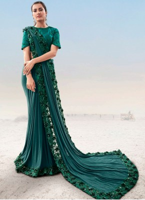 Artistic Green Embroidered Fancy Fabric Designer Saree