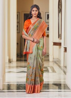 Artistic Multi Colour Weaving Linen Traditional Saree