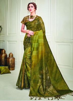 Artistic Silk Green Contemporary Saree
