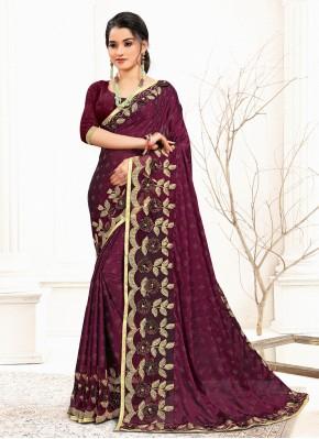 Artistic Wine Sequins Banglori Silk Designer Traditional Saree
