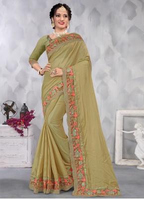 Aspiring Embroidered Green Designer Saree