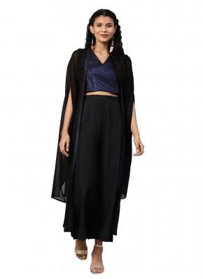 Aspiring Faux Crepe Plain Black Bollywood Salwar Kameez