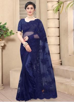 Aspiring Navy Blue Embroidered Trendy Saree