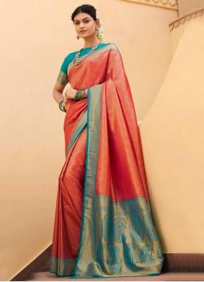 Aspiring Silk Woven Red Designer Traditional Saree