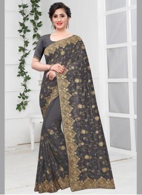 Aspiring Silk Zari Grey Traditional Designer Saree