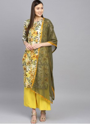Astonishing Cotton Digital Print Sea Green and Yellow Casual Kurti