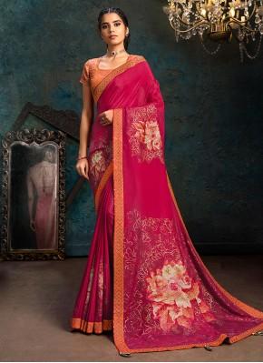 Astonishing Digital Print Faux Georgette Hot Pink Classic Designer Saree
