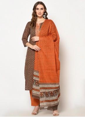 Astonishing Printed Brown Cotton Party Wear Kurti